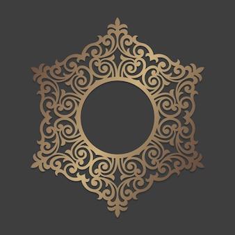 Verzierter kreisrahmen. mandala rundes verzierungsmuster. kreisförmiges silhouette-muster für laserschneid- oder stanzmaschinen. orientalische hölzerne abziehbildschablone.