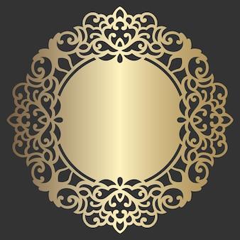 Verzierter kreisrahmen. spitze runde grenze. dekoratives element des mandala-stilvektors. papierdeckchen mit spitzenkante, hochzeitsdekor, gestaltungselement, kuchenbrettabdeckung. einladung, menügestaltung.