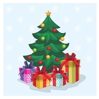Verzierter weihnachtsbaum, der durch vielzahlgeschenkbox und -schneeflocken umgibt