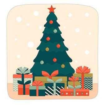 Verzierter weihnachtsbaum mit geschenkboxen darunter