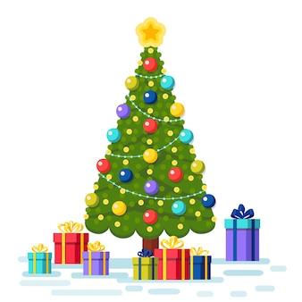 Verzierter weihnachtsbaum mit geschenkboxen, stern, lichtern, dekorationskugeln. frohe weihnachten und ein glückliches neues jahr