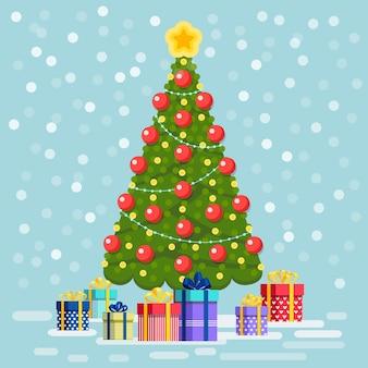 Verzierter weihnachtsbaum mit geschenkboxen und lichtern