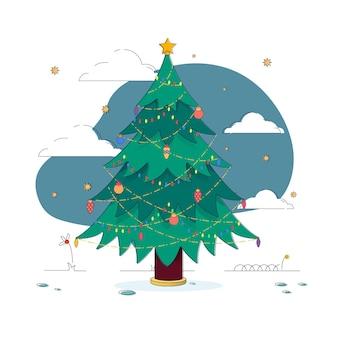 Verzierter weihnachtsbaum mit goldenem stern