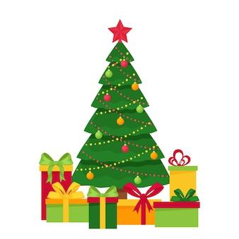 Verzierter weihnachtsbaum mit spielzeug, girlande und stern. geschenkboxen unter dem baum. element von weihnachten und neujahr design. postkartenvorlage. im flachen stil. auf weiß isoliert.