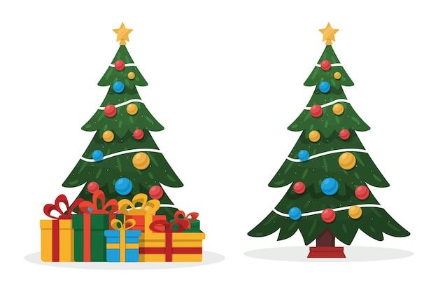 Verzierter weihnachtsbaum und geschenke.