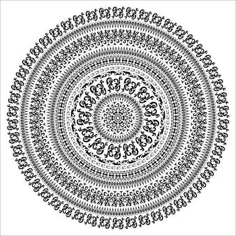 Verzierung einfarbige karte mit mandala. runde dekorative vektorform lokalisiert auf weiß. vektor-illustration in schwarz-weiß-farben.