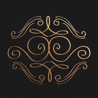 Verzierungen des goldenen dekorativen verzierungselementstrudels der goldenen kalligraphie