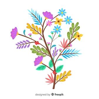 Verzweigen sie sich für frühlingsblumen im flachen design