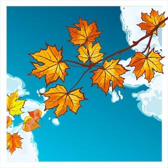 Verzweigen sie sich mit gelben und orangefarbenen herbstblättern vor dem hintergrund eines strahlend blauen himmels und einer wolke. karte mit bunten herbstelementen. vektor-illustration. herbstfahnenhintergrund.