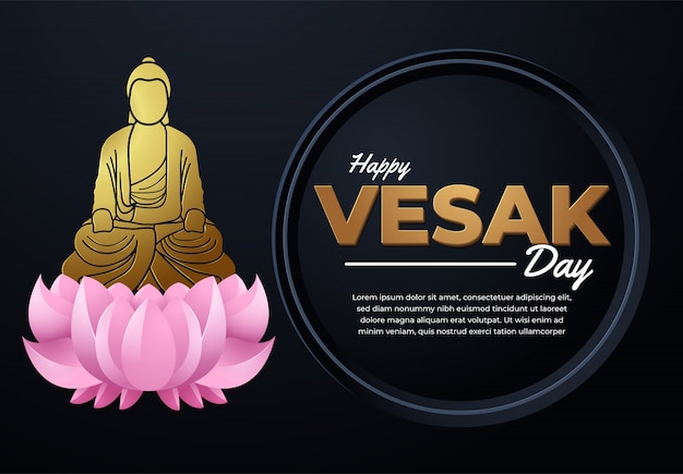 Vesak-tagesbanner-illustration mit einem buddha-zeichen im modernen schwarzen hintergrund