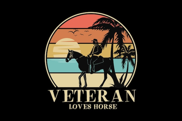 Veteran liebt pferd, design-schlamm-retro-stil