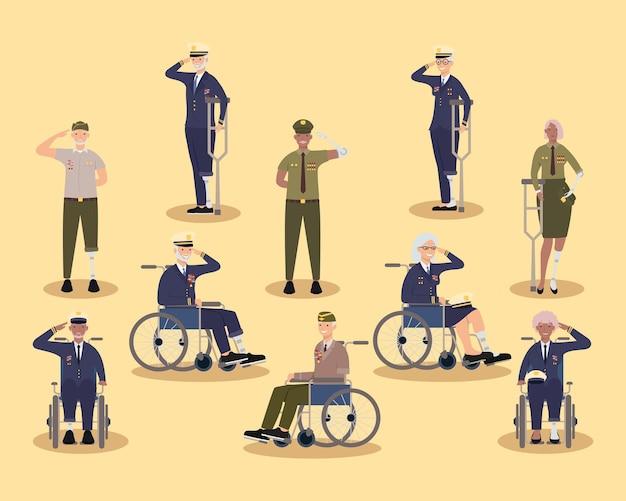 Veteranen frauen und männer mit prothesen