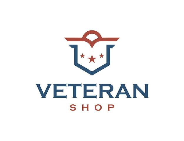 Veteranen-shop-umriss einfaches schlankes kreatives geometrisches modernes logo-design