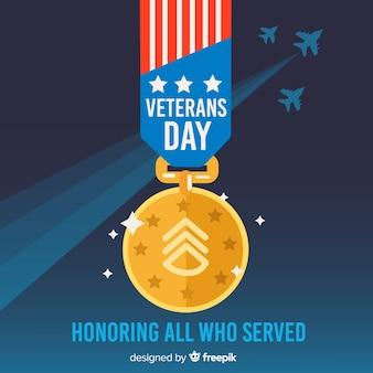 Veteranen-tag-hintergrund mit uns flagge medaille