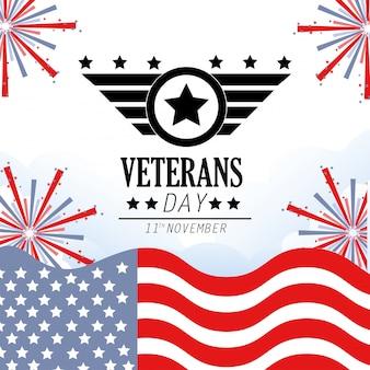 Veteranen-tagesfeier mit flagge und feuerwerk