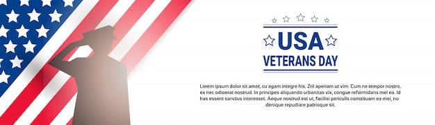 Veteranen-tagesfeier-nationale amerikanische feiertags-fahne mit soldat silhouette über usa-flagge