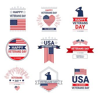Veteranen-tagesfeier-nationale amerikanische feiertags-ikonen eingestellt, sammlung der grußkarte mit usa-flagge