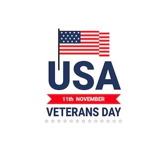 Veteranen-tagesfeier-nationale amerikanische feiertags-ikonen-gruß-karte mit usa-flagge