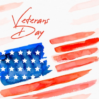Veteranentag mit aquarell flagge