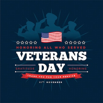 Veteranentag mit soldaten und amerikanischer flagge