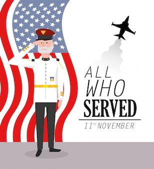 Veteranentag zur militärfeier mit flagge und flugzeug