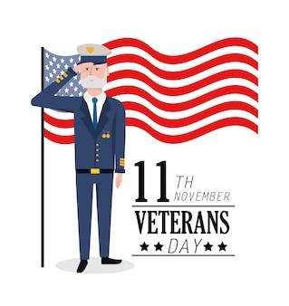 Veteranentag zur militärischen feier und flagge