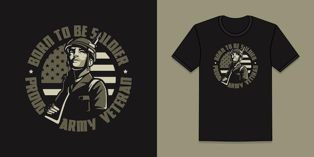 Veteranentwurf der amerikanischen armee für t-shirt