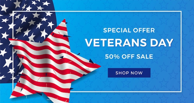 Veterans day banner design amerikanische flagge