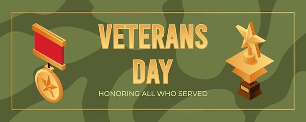 Veterans day banner design vorlage. alle ehren, die dem konzept gedient haben.