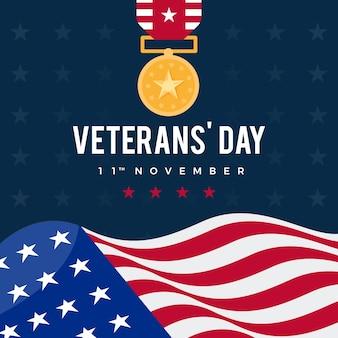 Veterans day flaches design hintergrund