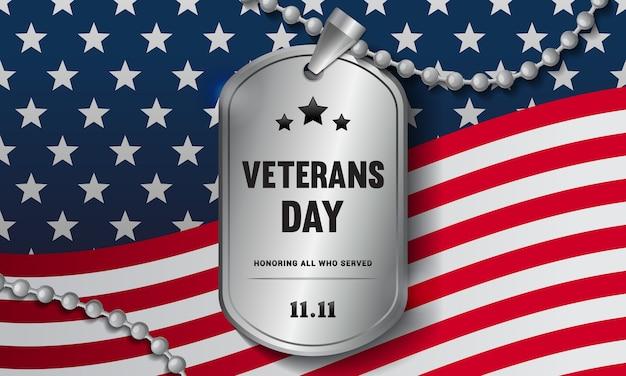 Veterans day soldiers halskette auf flagge der vereinigten staaten
