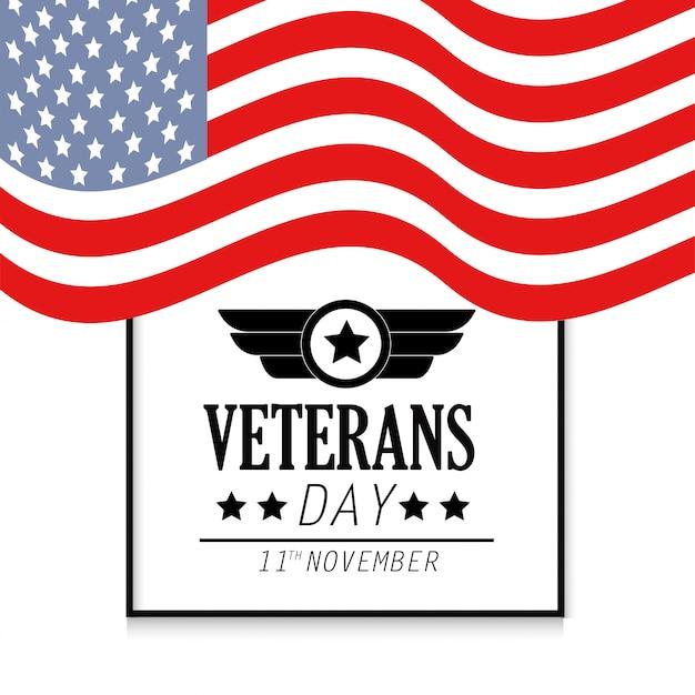 Veterans memorial day mit flagge der vereinigten staaten