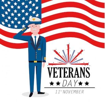Veterans military day feier mit feuerwerk
