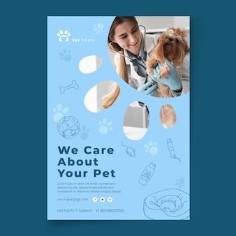 Veterinär-flyer-vorlage mit foto