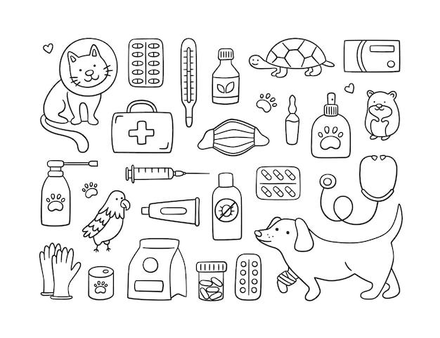 Veterinärset mit haustieren, medikamenten und futter. eine katze im halsband und ein hund mit einer verbundenen pfote.