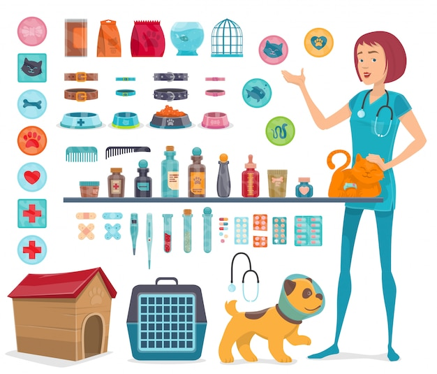 Veterinary icons collection