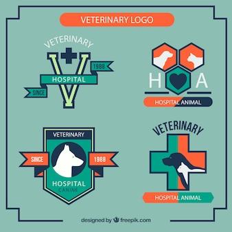 Veterinary logos in geradlinigen stil
