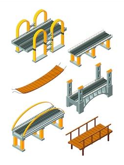 Viaduktbrücke isometrisch. hölzerne stützüberfahrtfluß- oder landstraßenprotokollierungsindustrie-stadtlandschaft