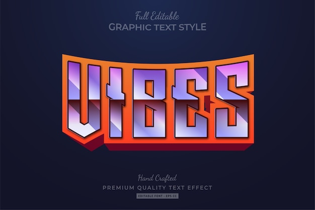 Vibes 80er jahre retro editable text style effect premium