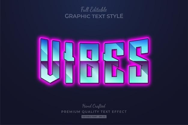 Vibes glow 80er editable text style effect premium Premium Vektoren