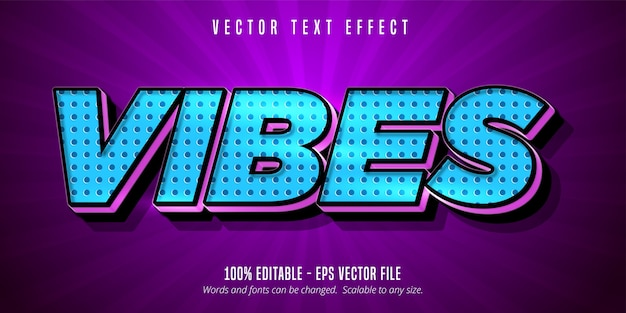 Vibes text, bearbeitbarer texteffekt im cartoon-stil