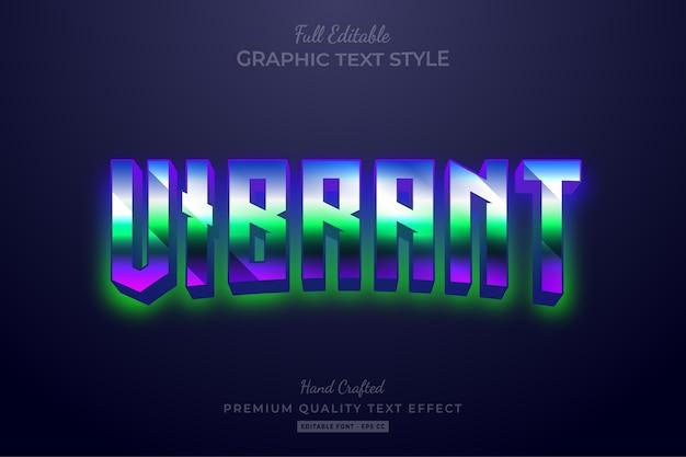 Vibrant gradient 80er retro editable text style effect premium