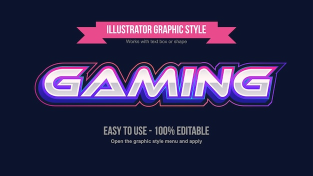 Vibrant neon futuristic gaming text effekt