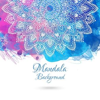 Vibrierender aquarellhintergrund mit hand gezeichneter mandala.