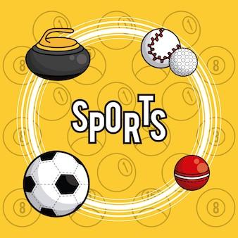 Vibrierender kartenhintergrund der sportballausrüstung