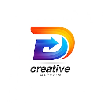 Vibrierender kreativer buchstabe d logo design template