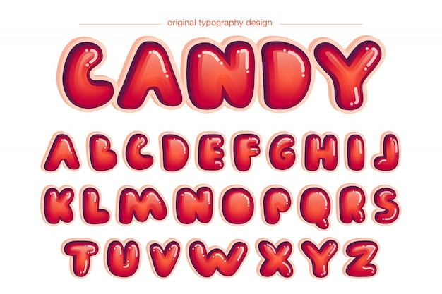 Vibrierendes rotes abgerundetes comic-typografie-design