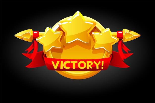 Victory-popup, goldene runde banner-assets für das spiel.