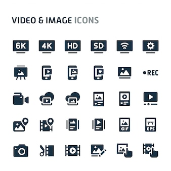 Video & bilder icon set. fillio black icon-serie.