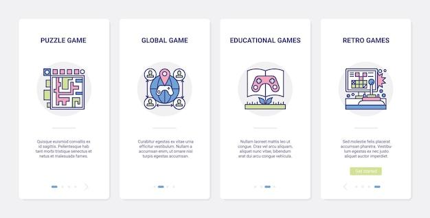 Video-bildungsspiele online-multiplayer-ui-ux-onboarding-seitenbildschirm für mobile apps.